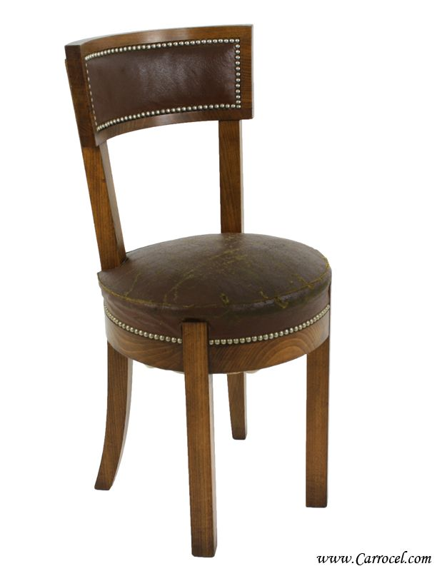 Antique Art Deco Curved Back Leather Side Chair from France 1930s